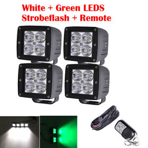 Set 48w 3 Led Work Light 4 Pods White Green Strobe Flood Fog Warning