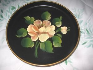 Hand Painted Peach Roses Vintage Black 1970 S Tole Dresser Jewelry Pin Tray