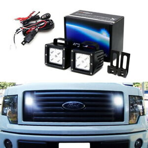 40w Cree Led Pod Lights W Behind Grille Brackets Wiring For 09 14 Ford F150