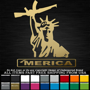 Merica Statue Liberty Holding Ar Over Head Patriotic Decal Sticker Truck Jeep