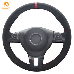 Suede Diy Steering Wheel Cover For Vw Gol Tiguan Passat B7 Cc Jetta Mk6 0389