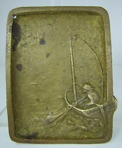 Old Fisherman Sailboat Brass Tray Sailor Pulling In Net Ocean Waves High Relief