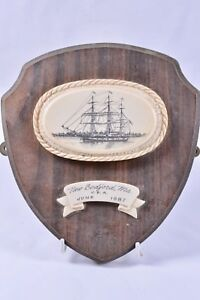 New Bedford Massachusetts Sail Ship Wooden Plaque Usa June 1887 Whaling Vessel