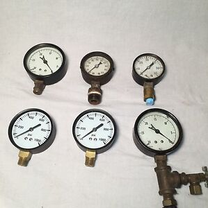 Steampunk Psi Pressure Test Gauge Gauges Lot Of 6 Ashcroft Marsh