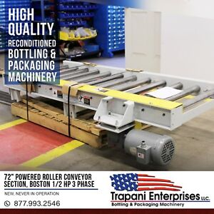 72 Chain Powered Roller Conveyor Section Boston 1 2 Hp 3 Phase Motor Unused 2