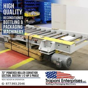 new 72 Chain Powered Roller Conveyor Section Boston 1 2 Hp 3 Phase Motor 2