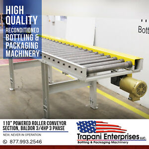 110 Powered Chain Roller Conveyor Section Baldor 3 4hp 3 Phase Motor Unused