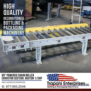 90 Powered Chain Roller Conveyor Section Boston 1 2hp 3 Phase Motor Unused