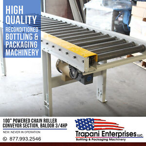 100 Powered Chain Roller Conveyor Section Baldor 3 4hp 3 Phase Motor Unused