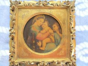 Hand Carved Antique Italian Tole Wood Florentine Madonna Rapheal Picture Plaque