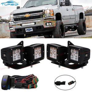 Chevy Silverado 1500 2500 3500 Cube Led Fog Light Kit 4x W Mounting Bracket
