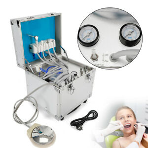 Portable Dental Unit Metal Mobile Case 4 Holes built in Oilless Compressor 110v