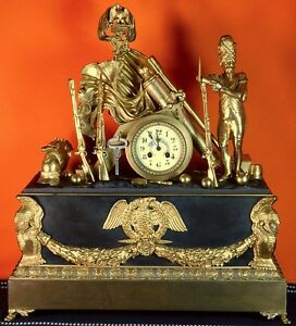 Large Antique Old 1860 90 S French France Bronze Military Motif Mantel Clock