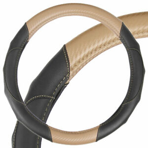 Ergonomic Motor Trend Sporty Carbon Fiber Pu Leather Steering Wheel Cover Beige
