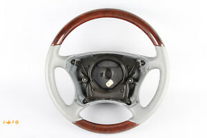 00 06 Mercedes W220 S430 S500 Driver Steering Wheel Gray Leather Wood Oem
