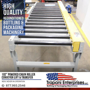 102 Powered Chain Roller Conveyor Lift Transfer 220 460v 3 Phase Motor Unused