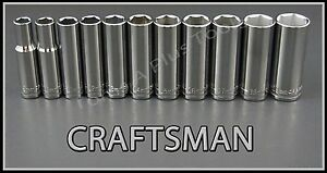 Craftsman Hand Tools 11pc Lot 3 8 Deep Metric Mm 6pt Ratchet Wrench Socket Set