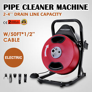 50ft 1 2 Drain Auger Pipe Cleaner Cleaning Machine Easy Plumbing Machine Safe