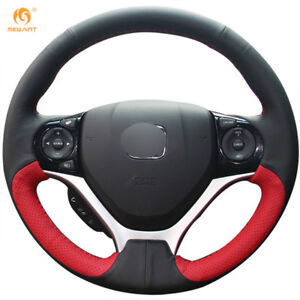 Black Red Genuine Leather Steering Wheel Cover For Honda Civic 9 2012 2015 0567