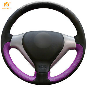 Suede Purple Leather Steering Wheel Cover Wrap For Honda City Fit Jazz 0534