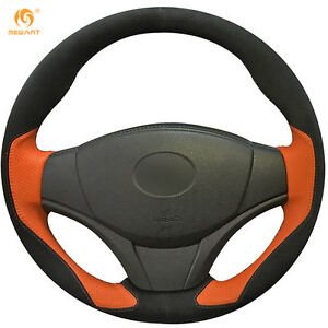 Suede Orange Leather Steering Wheel Cover For Toyota Yaris Vios 2014 2016 0433