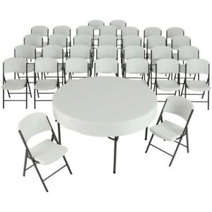 Lifetime Tables And Chairs Combo 80458 White 32 Chairs 4 60 inch Round Tables