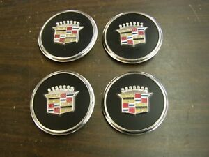 Oem Cadillac Wheel Cover Center Emblems Set Black 1978 Deville Fleetwood Nos