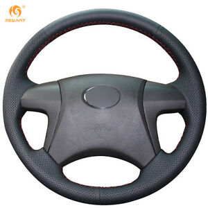 Black Leather Steering Wheel Cover For Toyota Highlander 2009 2014 Camry 0406