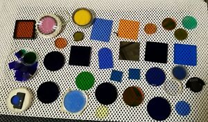 Lot Of Optical Glass Color Filters Viewer Microscope Lens Nice