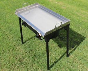Concord 32x17 Stainless Steel Flat Top Griddle Grill W Manual Dble Burner Stand