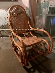 Indoor Wooden Rocking Chair With Unique Design And Carvings Pick Up Only