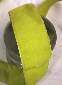 1 Yard Vintage Chartreuse Green Velvet 1 1 2 Rayon Ribbon Trim Millinery Dress