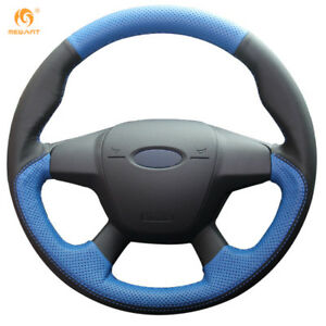 Black blue Leather Steering Wheel Cover For Ford Focus 3 Kuga Escape 13 16 0613