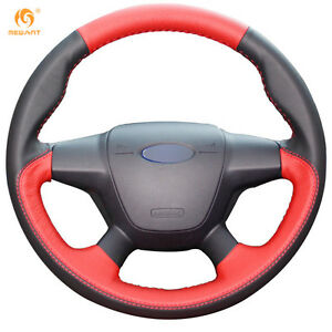 Black red Steering Wheel Cover For Ford Focus 3 2012 14 Kuga 2013 16 0642