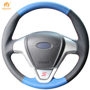 Black blue Steering Wheel Cover For Ford Fiesta 2008 2013 Ecosport 2013 16 0650