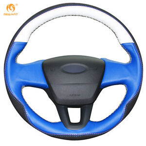 White Blue Leather Black Suede Steering Wheel Cover For Ford Focus 3 15 18 0647