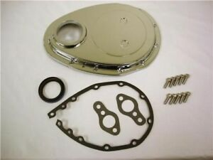 Sbc Small Block Chevy Polished Aluminum Timing Chain Cover Kit 327 350 383 400