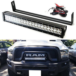 20 120w Led Light Bar W Front Grill Mounting Bracket Wire For Dodge Ram Rebel