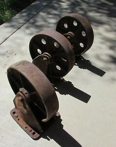 Huge Antique Industrial Cast Iron Wheels Railroad Cart Wheels Large 8 Wheels
