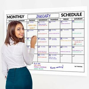 Large Dry Erase Poster Board Wall Laminated Monthly Calendar Planner 36 X 48
