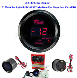 Us 2 52mm Red Digital Led 30 Psi Turbo Boost Elec Gauge Boat Car Auto 0 15v