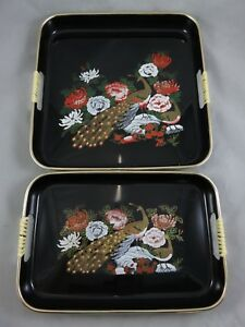 Vtg Japanese Black Lacquerware Nested Serving Tray Set Peacock Bird Flowers