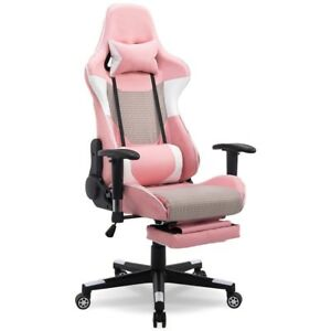 Pink High Back Gaming Comfort Chair W Lumbar Support Home Office Furniture