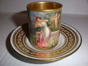 Exquisite Antique Royal Vienna Cup Saucer Woman Cherub Hand Painted Signed