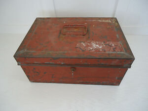 Document Cash Storage Metal Box With Key Painted Antique