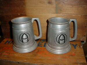 2 Old Vintage Pennsylvania Agriculture Pewter Mugs 1947 Co Op Grange Promo Feed