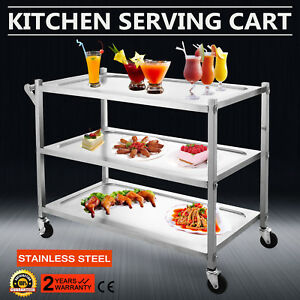 3 Tier Stainless Steel Catering Cart Rolling Utility 17x35 plate 330lbs Capacity