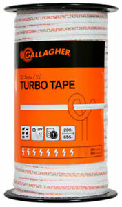 Gallagher G62354 Electric Fence Turbo Tape Ultra White 1 2 X 656