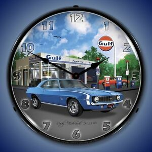New 1969 Blue Ss Camaro Gulf Gas Station Lighted Advertising Clock Fast Ship