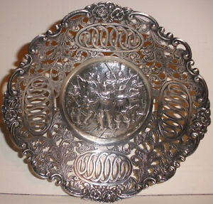 Beautiful Antique Dutch Musketeers 830 Silver Open Work Repousse Basket Bowl